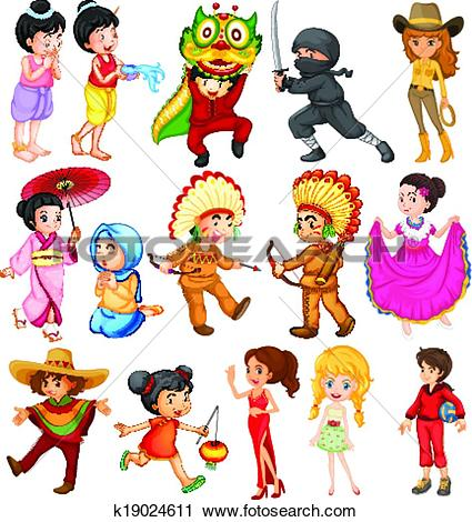 Clipart of People around the world k19024611.