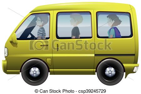 Vector Illustration of People riding in yellow van illustration.