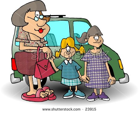 Clipart Illustration Of A Mom And 2 Daughters Standing In Front Of.