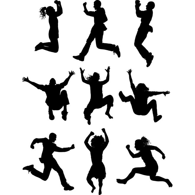 Happy People Clipart Silhouette.
