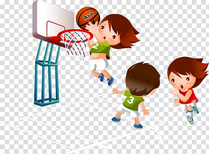 People playing basketball illustration, Basketball Cartoon.