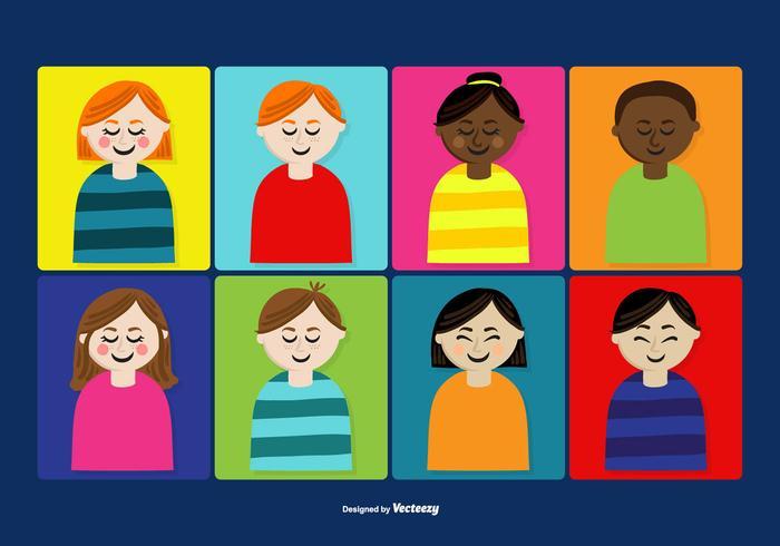 Cute People\'s Faces Vectors.