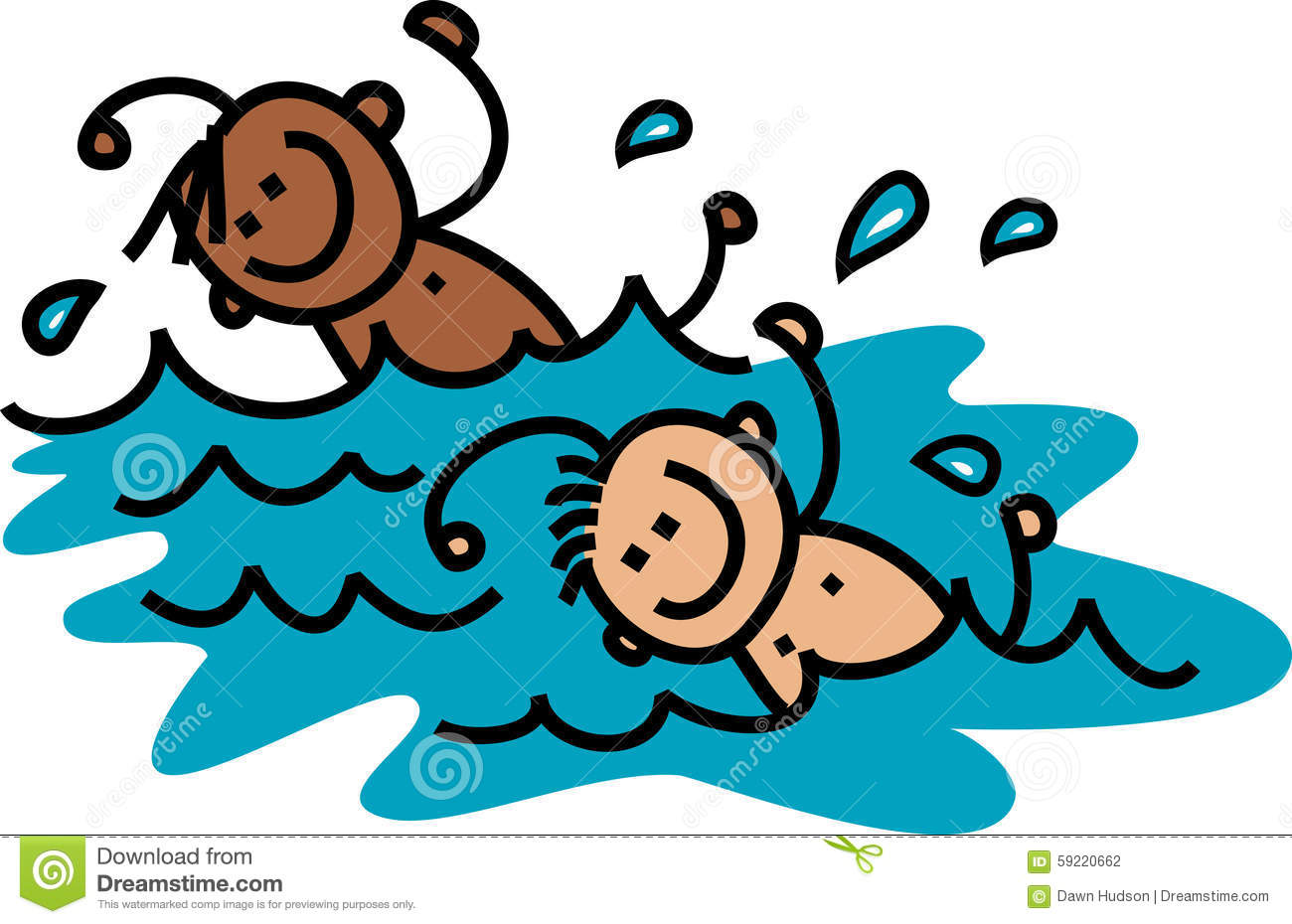 People Swimming In A Pool Clipart.