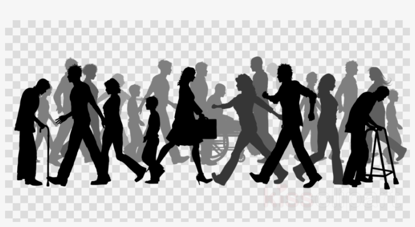 Download Group Of People Walking Silhouette Clipart.