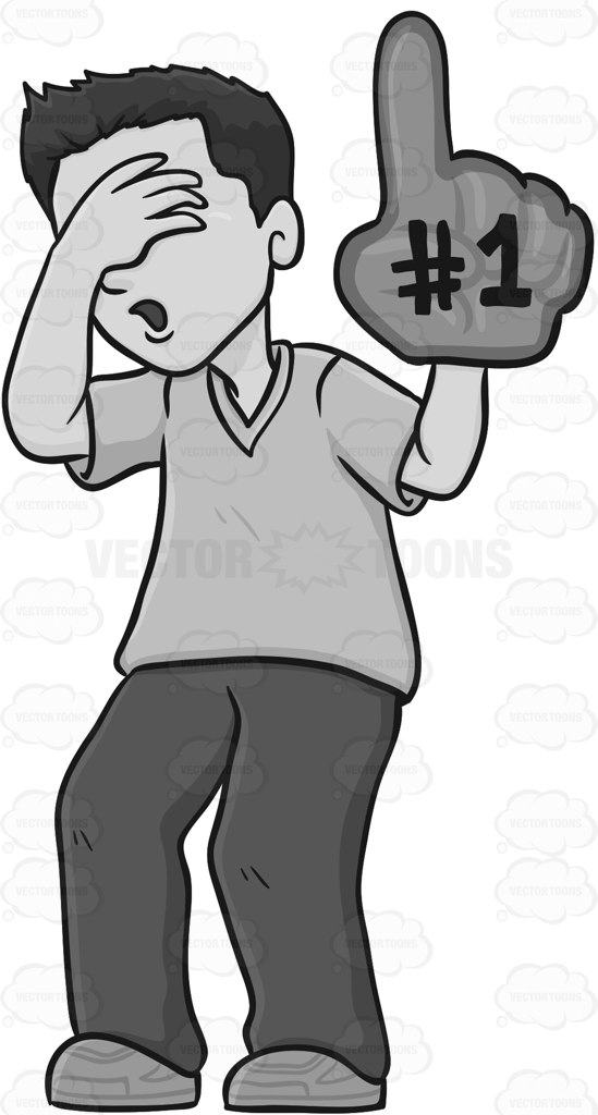 Man With Giant Foam Hand Covering His Eyes Cartoon Clipart.
