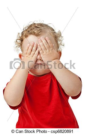 Stock Photography of Baby covering eyes with hands.