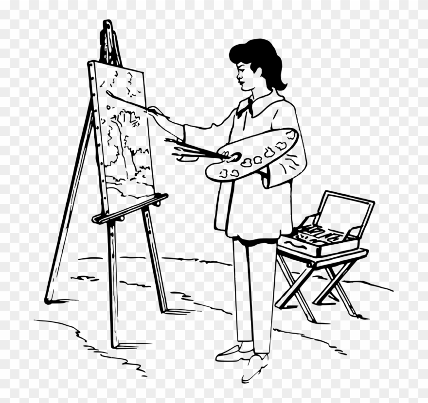 Painting Easel Black And White Drawing Art.