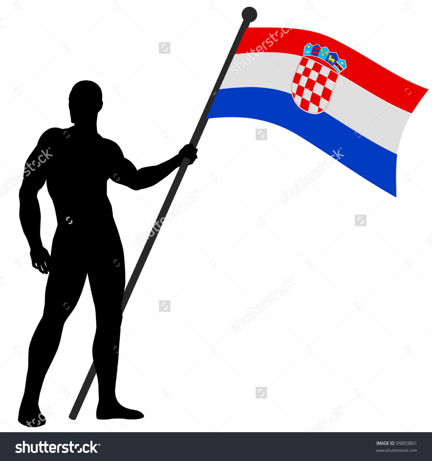 Man Holding Flag Clipart.