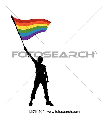 Clipart of man holding a peace flag, vector illustration k6764504.