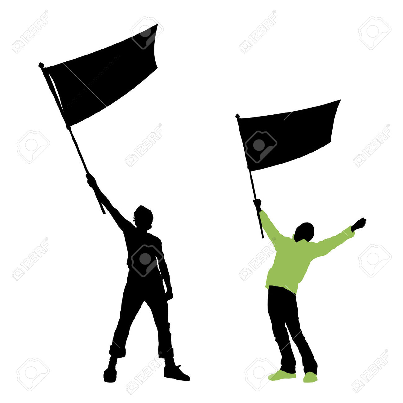 Person Holding Flag Clipart.