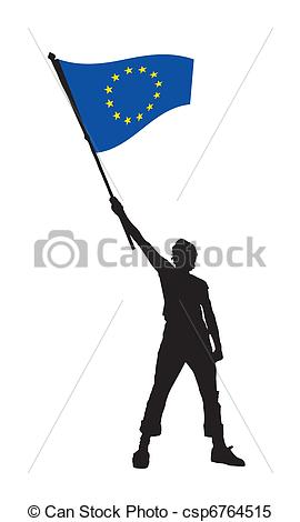 Clipart Vector of man holding a flag of europe, vector.
