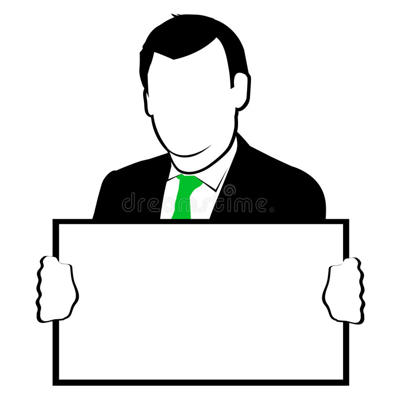 Man Holding Sign Clipart.