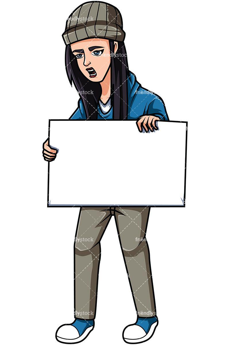 Female Activist Holding Sign.