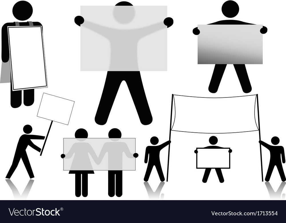 Symbol People Hold Sign Background Spaces.