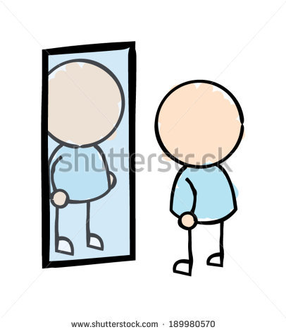 Man Reflection In Mirror Stock Images, Royalty.