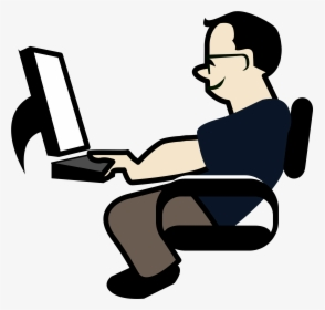 Transparent Person On Computer Png.