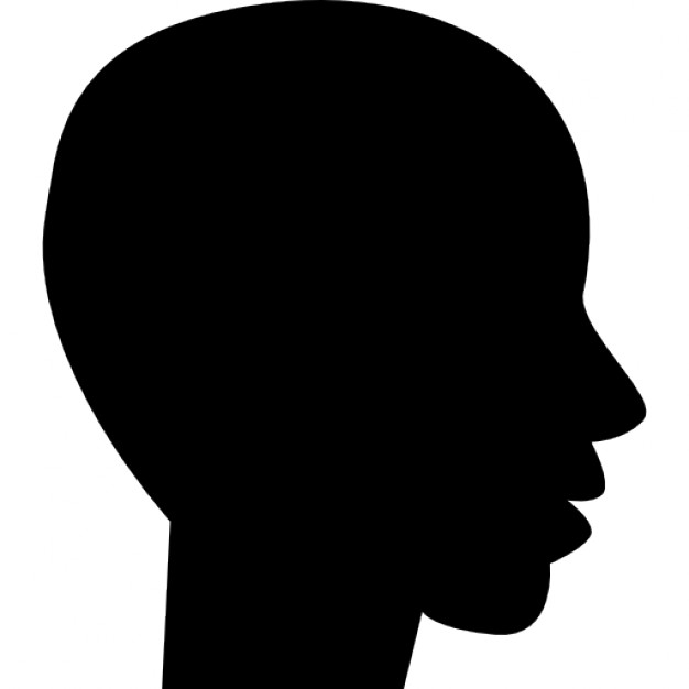 Head side view black silhouette of male bald shape Icons.