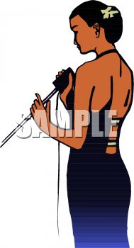 Beautiful Black Woman Singing Clip Art.