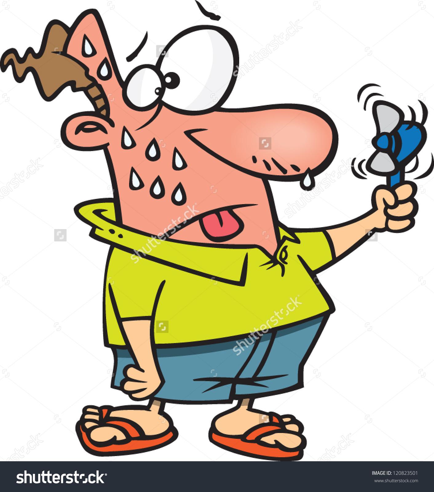 Sweating Cartoon Man Dying Heat Using Stock Vector 120823501.