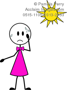 Clip Art Image of a Girl Stick Figure Sweating in the Hot Sun.