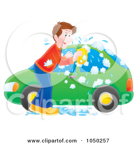 Clipart Man Washing A Green Car Under A Sign.