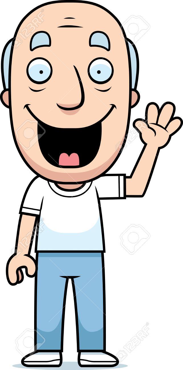A happy cartoon man waving and smiling..