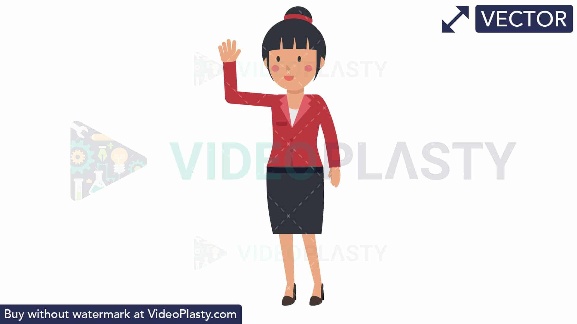 Asian Corporate Woman Waving Her Hand [VECTOR].