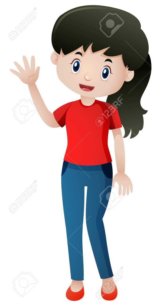 Woman waving hand hello illustration.