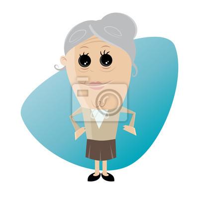 Image: Clipart, heureux, personne âgée, femme.