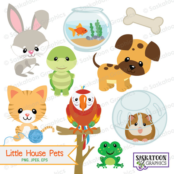 Little House Pets Animal Clipart.