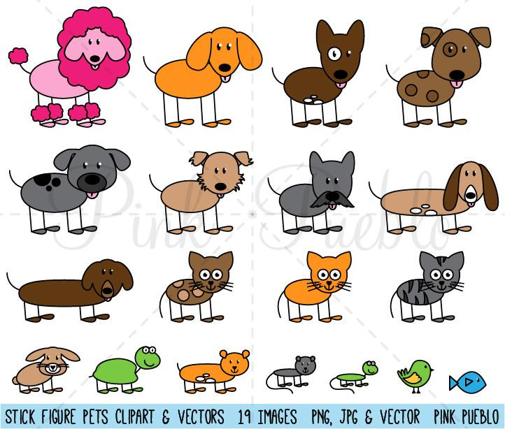 Stick Figure Pets or Animals Clipart and Vector.