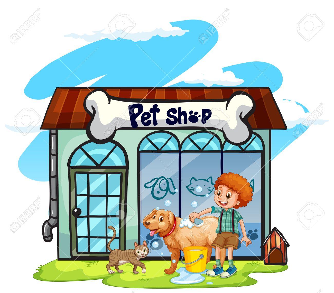 Boy washing dog at pet shop illustration.