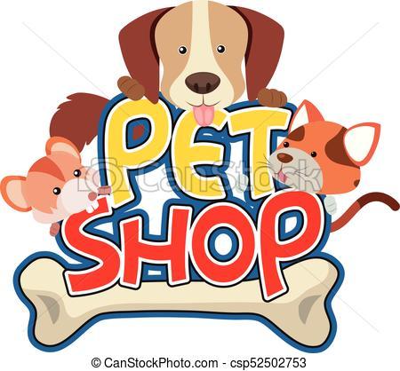 Pet shop sticker with cute pet.
