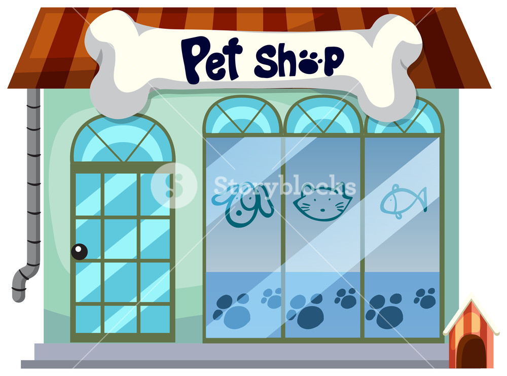 A pet shop on white background Royalty.