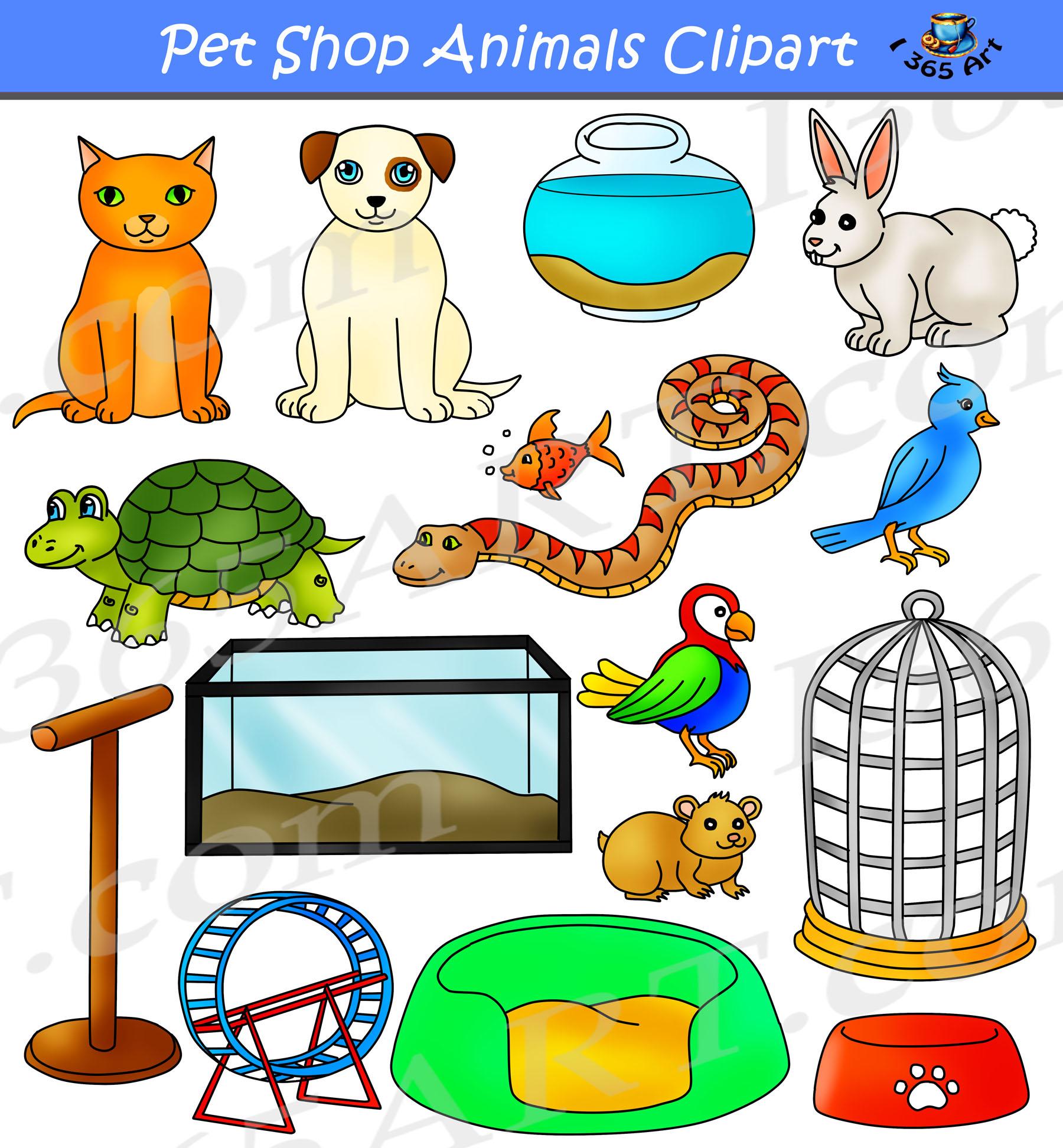 Pet Shop Animals Clipart Commercial Set.