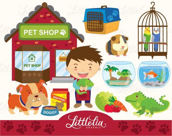 Boy's Pet shop clipart set/ instant download.