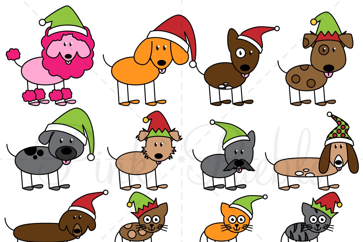 Christmas Stick Figure Pets Clipart.