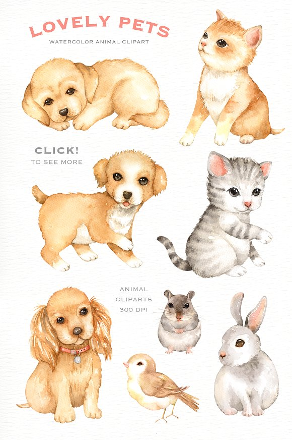 Lovely Pets Watercolor clipart.