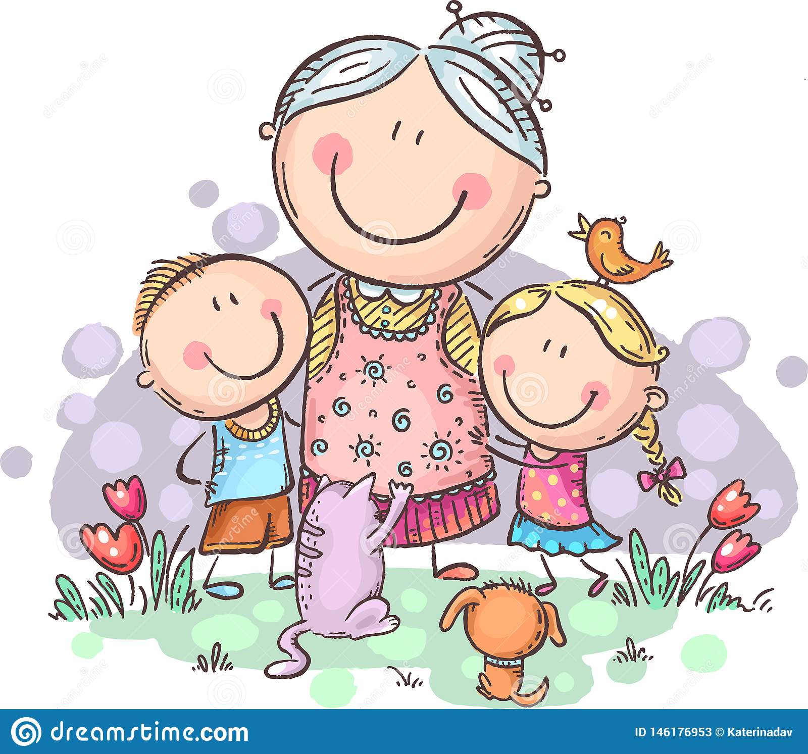 Everyone Loves Granny, Grandmother With Grandchilren And Pets.