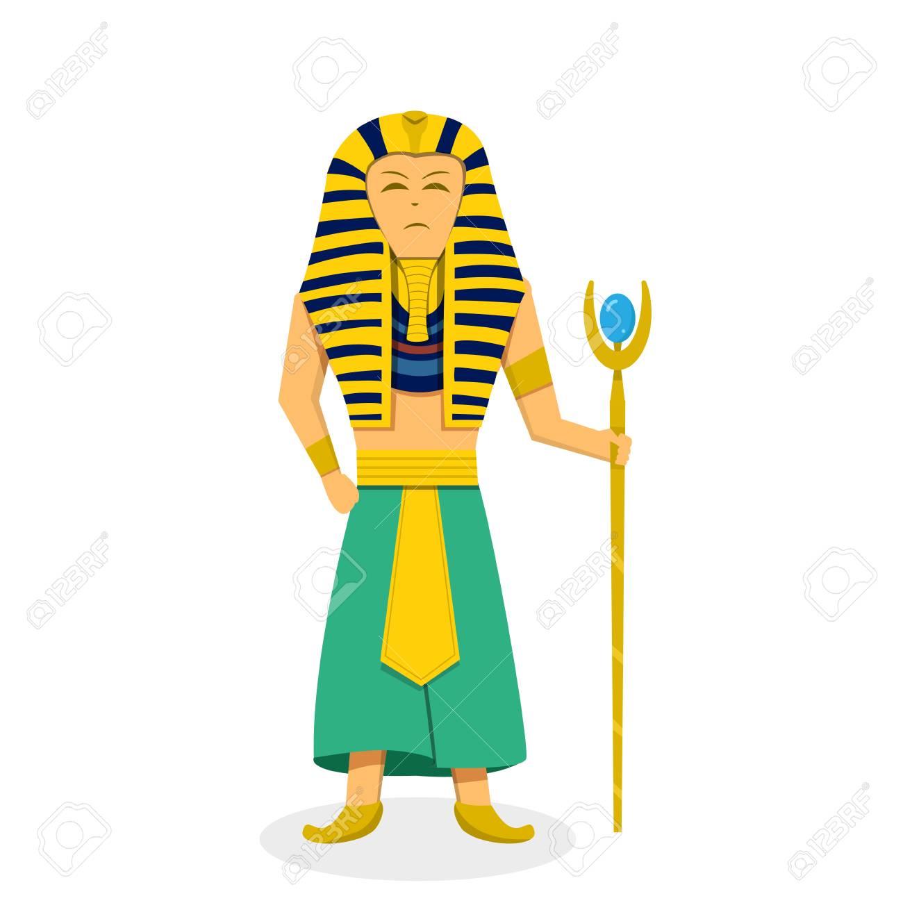 King Pharaoh on white in flat style, vector design.