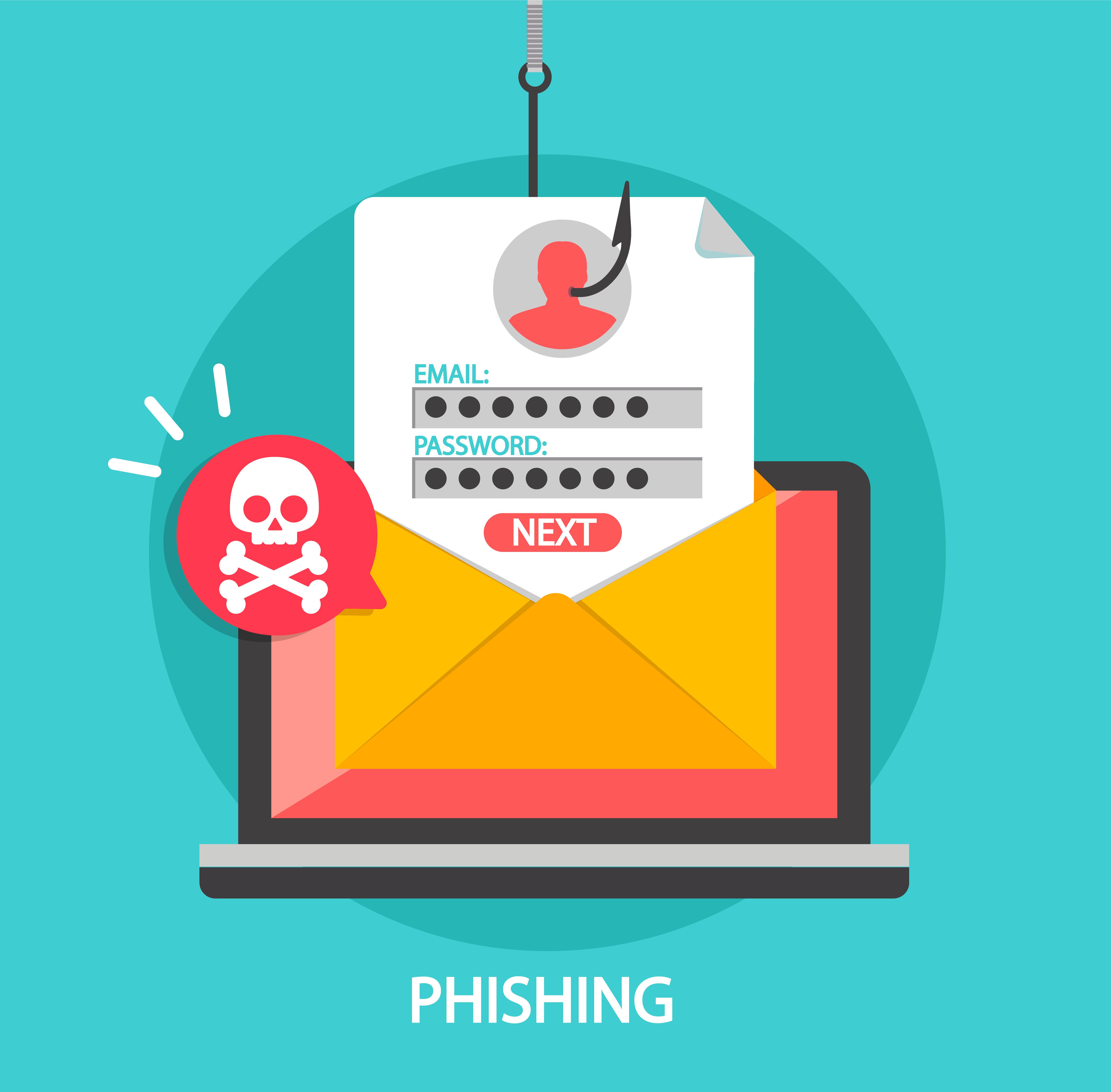 Phishing login and password on fishing hook..