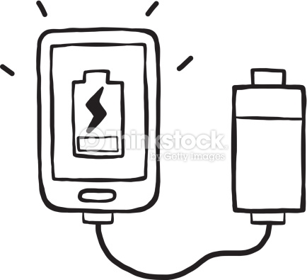 Power Bank And Smart Phone Vector Art.