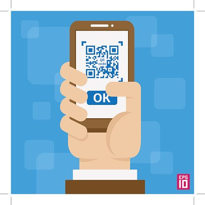 Hand with phone QR code Clipart Image.