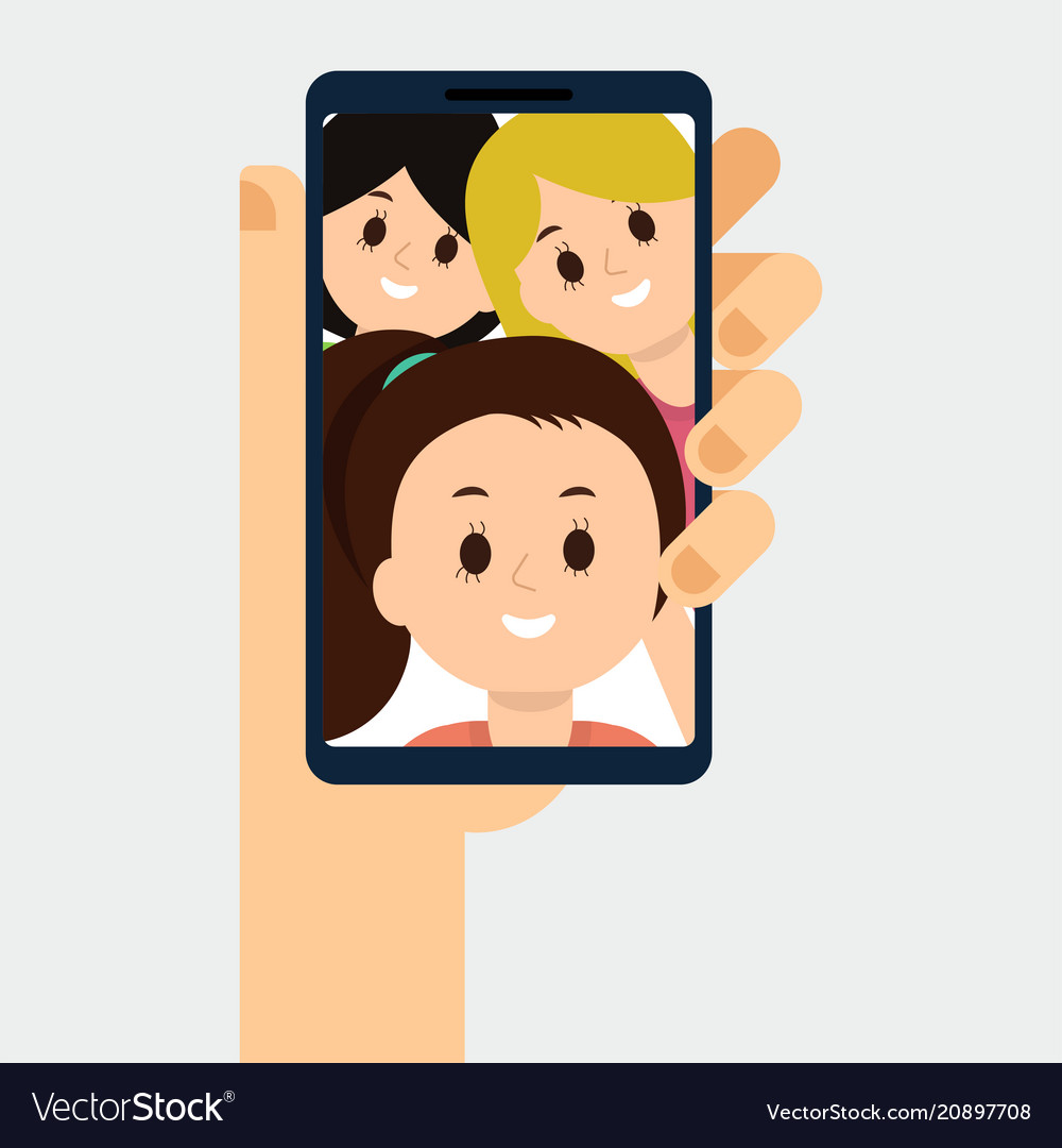 Flat of video call with friends.