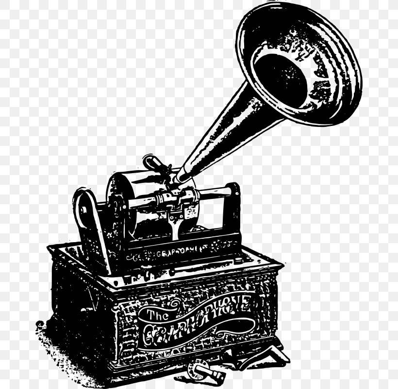 Black And White Phonograph Record Clip Art, PNG, 674x800px.
