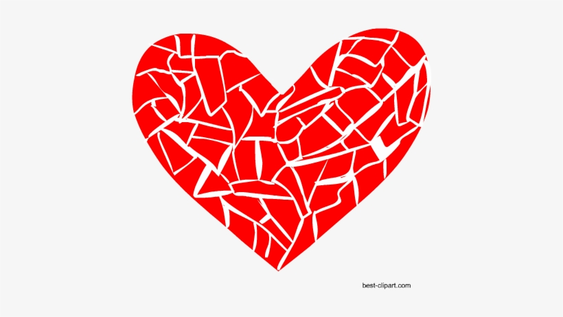 Broken Heart Or Mosaic Heart Clipart Free.