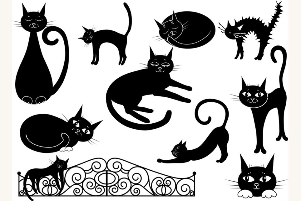 at clipart, black cat clipart, vector clipart, cartoon.