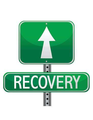 street sign about personal health and business recovery.