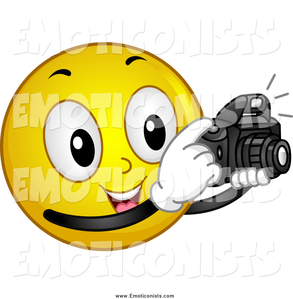 Clip Art of a Photographer Emoticon Taking Pictures by BNP Design.