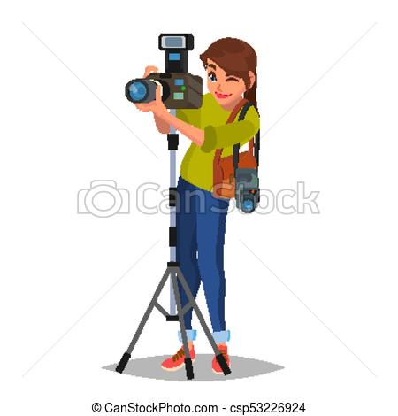Young Female Photographer Vector. Take A Photo. Photographic Equipment.  Holding A Camera. Isolated On White Cartoon Character Illustration.
